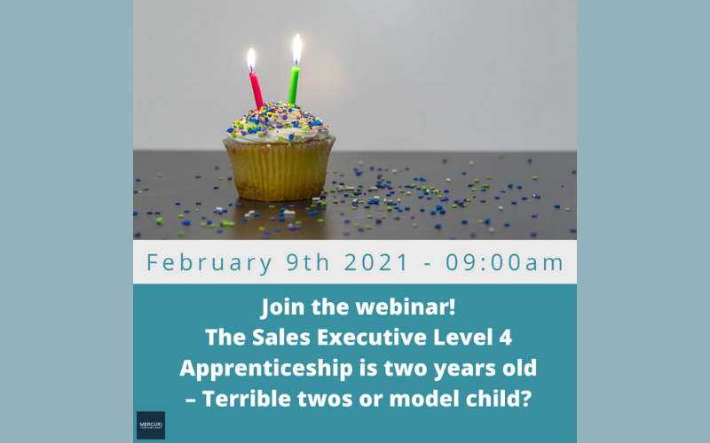The sales apprenticeship is two years old - terrible twos or model child